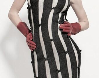 Dark gray and white stripe alpaca tube dress