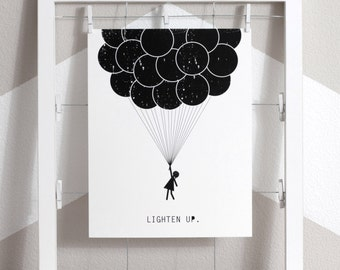 8 x 10 Instant Download Art Print, lighten up, balloons, Black and white art, Instant Download