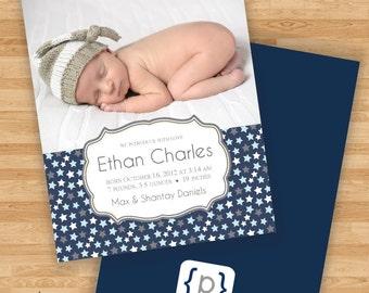 Baby Boy Birth Announcement -Stars Design - Navy/Blue/Gray/White