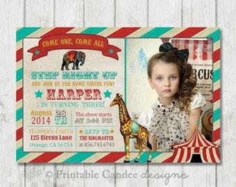 Vintage Circus Birthday Invitation - DIY Custom Printable