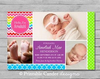 Rainbow Baby Birth Announcement - DIY Custom Printable