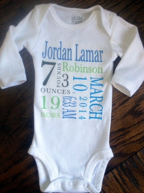 Boys Personalized Baby Name Birth Announcement Onesie