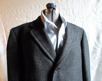 Vintage Mens Coat, Charcoal Herringbone, Wool Coat, Tweed Coat, Scottish Wool, Excellent, Total Retro, Mid Century, Free US Shipping