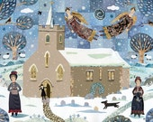 Jane Austen - Church - Christmas Gift - Gift for Booklovers - Angels - Dog -  Steventon - English Literature - Naive Art Print - Snowscape