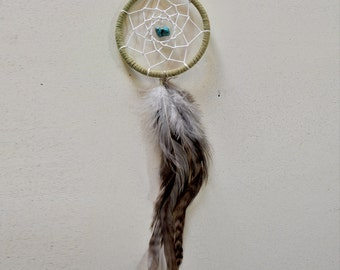 Dream Catcher for Car Mirror- Light Green, White, Turquoise Stone