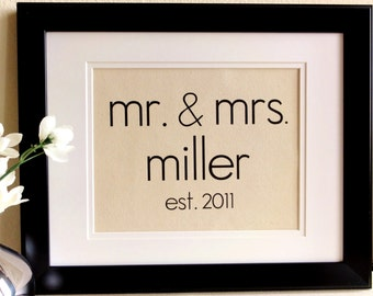New- Modern Font Cotton Anniversary Gift-  Mr. and Mrs. Print- Perfect gift for  Weddings & Engagements