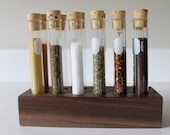 Reclaimed wood spice rack with 12 Pyrex  test tubes & cork stoppers - walnut, mahogany or maple