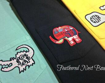 Critter Monogram Shirt - Monogrammed Comfort Colors Shirt - Whale Monogram Shirt - Gator Monogram Shirt - Bulldog Monogram Shirt -