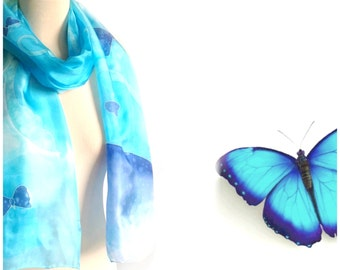 Hand painted Silk scarf, Blue butterfly, Turquoise scarf, Butterfly silk scarf