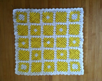 Baby Blanket - Sunny Yellow and White Granny Squares 29x29 Inches