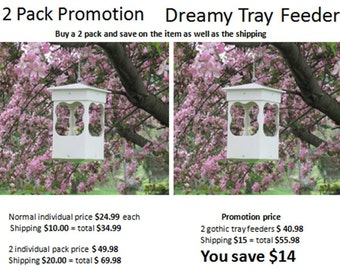 2 pack promotion dreamy Outdoor vinyl bird feeder tray feeder PVC  EZ CleanEZ fill  hanging bird feeder -modern style- Made in the USA