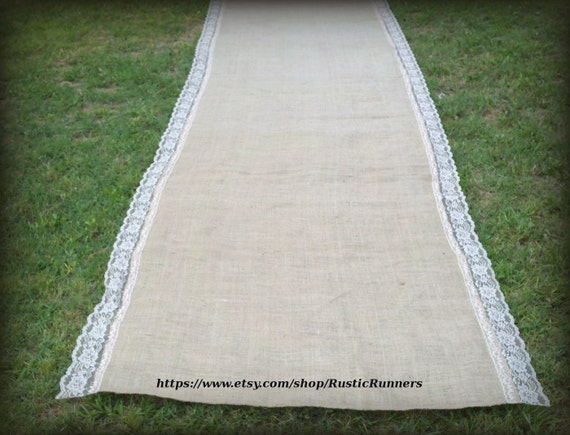 20 ft Long -Wedding Burlap Aisle Runner with Natural Lace - Rustic Wedding Aisle runner burlap and lace