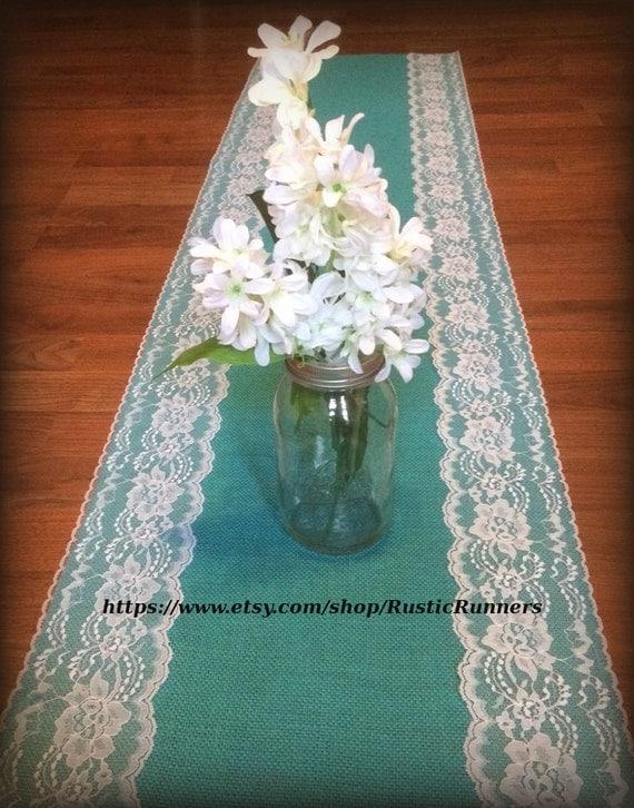 Rustic Charm Wedding Teal Jade Turquoise Aqua Blue Burlap And