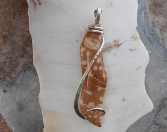 Fawnstone Silver Wrapped Pendant