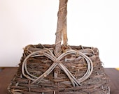 Vintage Basket, Rustic Grapevine, Primitive, Twigs, Sticks, Country