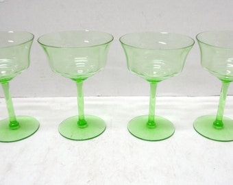 4 Green Depression Glass Footed Tall Sherbet / Champagne Vaseline or Uranium Glass - Glows