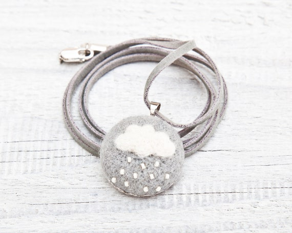 Cloud pendant, Cloud Necklace, Felted Jewelry, Gray and White