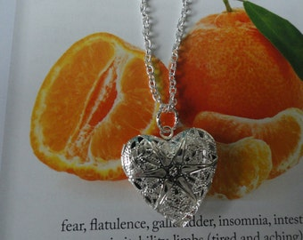 Silver Color Heart Aromatherapy locket - plus you can chose a sample of the Essential Oil