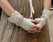 Made to Order: Prairie Lace Mitts ~ Vintage Inspired Hand Knit Merino Alpaca Fingerless Gloves in Oatmeal with Garnet Stitching
