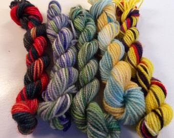 5g Mini skein set on Max 80/20 SW Merino Nylon Hand dyed fingering weight sock yarn