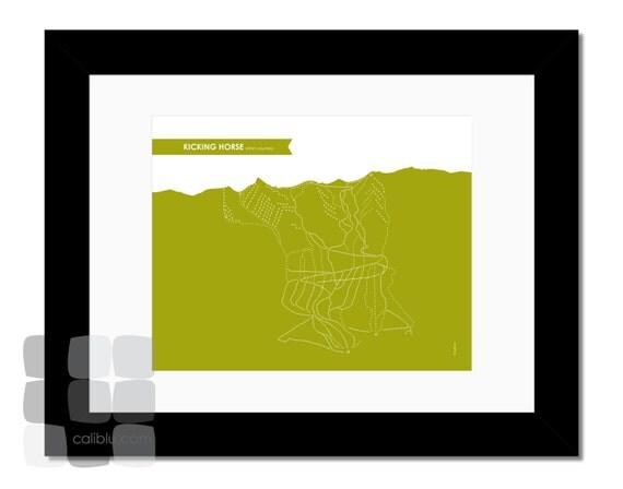 Kicking Horse Ski Trail Map - 8x10 - Modern Art Print