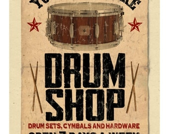 """your name on a personalized Drum Shop POSTER  - 12""""x18"""" - gift"""