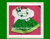 """St. Patricks Day """"Lucky Me"""" Twirl Skirt Set - Complete with OTT Shamrock Hair Bow - Onesie and Tee Available 6 months to 6 years"""