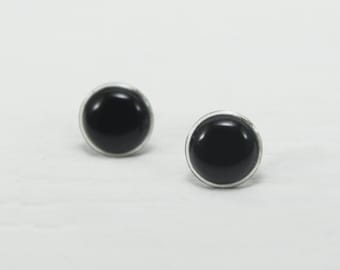 Black Stud Earrings 14mm - Black Earrings - Black Post Earrings - Black Round Modern Stud Earrings - Surgical Stainless Steel Ear Stud