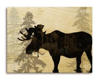 Moose art print on wood, evergreen tree silhouettes, Canadian wildlife
