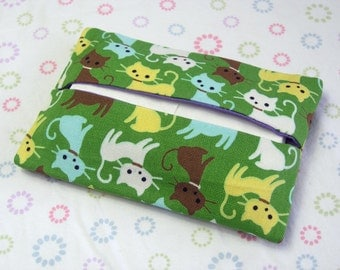 Tissue Pouch, Handmade Kitty Cats Tissue Holder, Green Cat Travel Tissue Holder, Kleenex Tissue Case