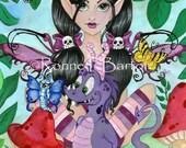 Gothic Cuties II cute dragon fairy cartoon fine art trading card PRINT atc aceo
