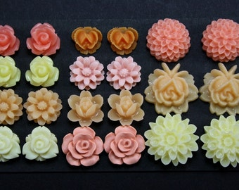 22 pcs Resin Flower Cabochons Assorted Sizes Sampler Pack - August Glow