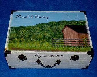 Hand Painted Wedding Keepsake Box Distressed Wedding Card Holder Wood Suitcase Trunk Envelope Money Box Barn White Large Box Wedding Gift