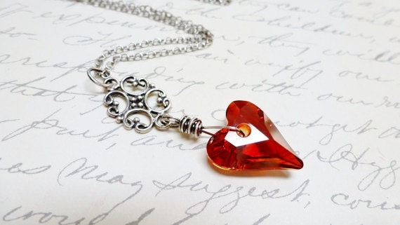 Red Crystal Heart Pendant / Valentine / Magma / Sterling Silver Necklace / Antique Victorian Style / Anniversary / SimplyJoli