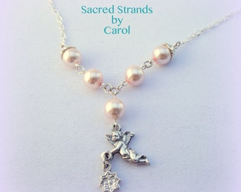 Necklace Cute cherub angel charm necklace with pink glass pearls