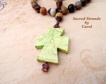Anglican Prayer Beads - Howlite stone cross and multicolored Jasper stone beads