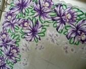 Purple Orchid Handkerchief - Vintage Handkerchief - Purple Handkerchief - Hankie - Hanky - Hankey