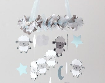 Sheep Clouds Nursery Mobile SMALL SIZE- Baby Mobile, Crib Mobile, Baby Shower Gift