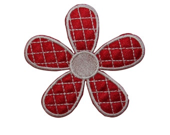 ID #6689 Red White Flower Daisy Blossom Iron On Embroidered Patch Applique