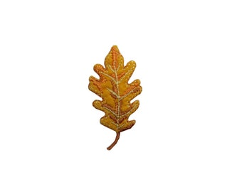 ID #7141 Orange and Gold Leaf Tree Plant Iron On Embroidered Patch Applique