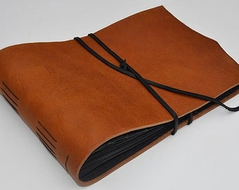"Handmade Leather Photo Album - 9 3/4"" x 14 1/2"" - 250 gsm Handmade Black Card Weight - Great Wedding Photo Album"