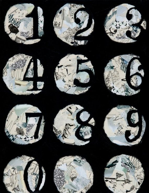 mixed media original, black and white painting, mixed media art, number art, circle painting, collage