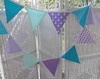 Fabric Banner-Purple, lavender,mint, and aqua