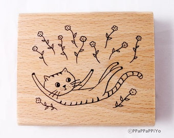 Flower with CAT Rubber Stamp