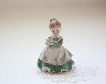 Vintage Lefton China Bisque Figurine, Flower Girl KW2817