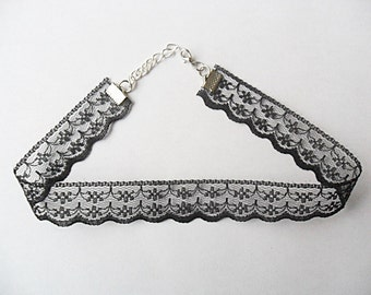 """Black lace choker necklace scalloped with a width of 3/4"""" inch (pick your neck size) ribbon choker necklace"""