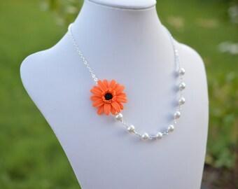 FREE EARRINGS,Orange Gerbera Daisy Flower necklace, Orange Flower Necklace, Gerbera Daisy Necklace, fall Wedding Necklace