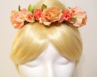 Bun Wrap, Bun Belt, Bun Ring, Flower Crown Head Wreath, Spring Wedding Pink Blush Coral Ivory Rose Blush Flower Girl Ballet Bride Dance
