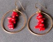 Red Coral Hoop Earrings/ gemstone earrings/ gold hoop earrings/ unique jewelry/ art jewelry/ red jewelry/ statement jewelry