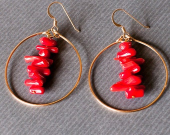 Red Coral Hoop Earrings/ gemstone earrings/ gold hoop earrings/ unique jewelry/ art jewelry/ red jewelry/ statement jewelry